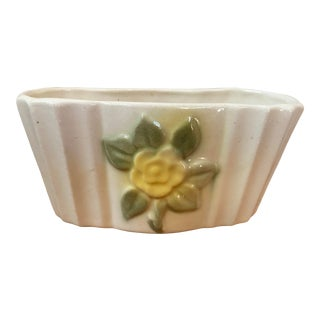 Vintage Ceramic Planter With Yellow Rose For Sale