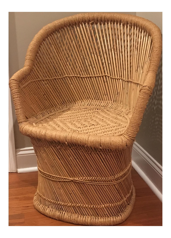 Vintage Pencil Bamboos Woven Jute Peacock Chair