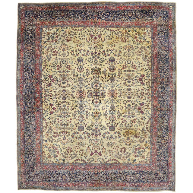 Antique Persian Kerman Palace Size Rug - 12′10″ × 15′2″ For Sale - Image 9 of 10