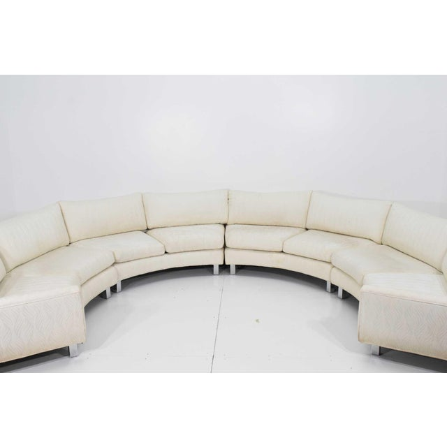 Contemporary Large Milo Baughman White Upholstered Four Section Circular Sofa For Sale - Image 3 of 13