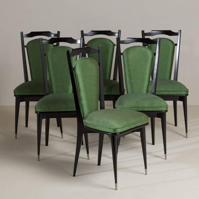 Set of Six Italian Ebonized Framed Dining Chairs, 1950s - Image 2 of 7