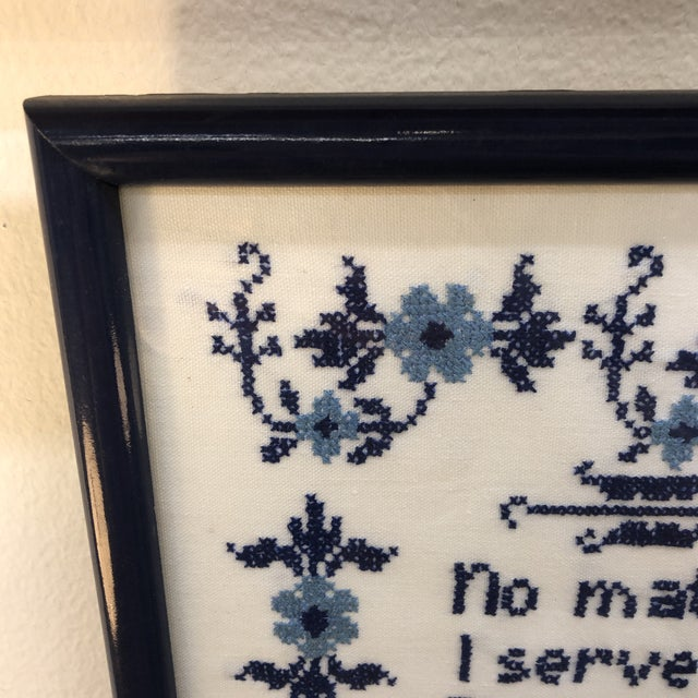 Blue and White Framed Needlepoint Textile Art For Sale - Image 4 of 7