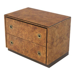 John Stuart Burl Wood Brass Round Pulls Two Drawers Stand For Sale