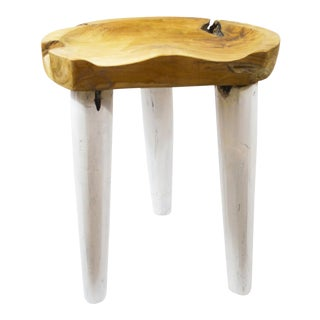 Danish Modern Natural & Walnut Scoop Stool For Sale