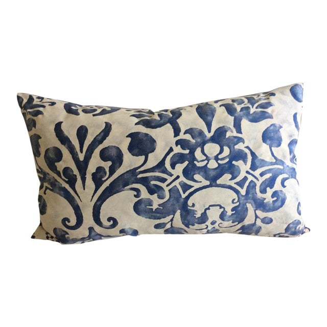 """Fortuny """"Navata"""" Lapislazzulo & Pale Grey Pillow For Sale"""