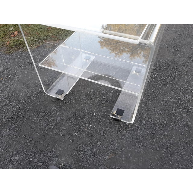 1970's Vintage Lucite Bar Cart For Sale - Image 6 of 11