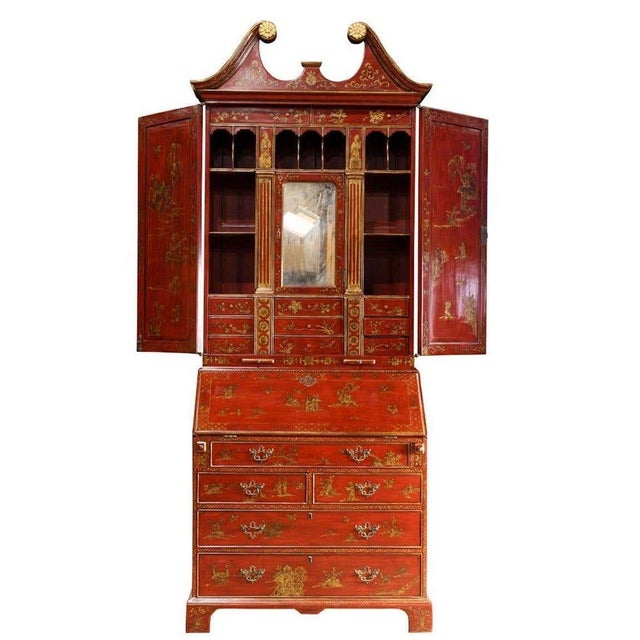 Asian Mid 20th Century George III Style Chinoiserie Red Lacquered Secretary Bookcase For Sale - Image 3 of 8