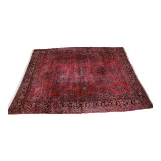 Antique Hand-Woven Persian Sarouk Rug - 11′4″ × 14′3″ For Sale