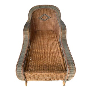 Vintage Palecek Bamboo Chaise Lounge For Sale