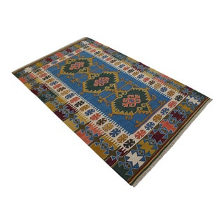 6x9 Hand Woven Turkish Oushak Kilim Wool Rug New - 5′7″ × 8′10″ For Sale
