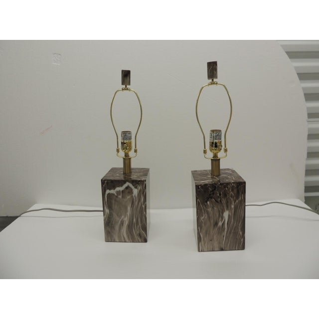 Pair of Marbelized Squared Table Lamps For Sale - Image 9 of 9