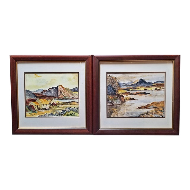 Irish Pair of Large Watercolors by Noel Hume - 2006 - in the Style of Paul Henry For Sale