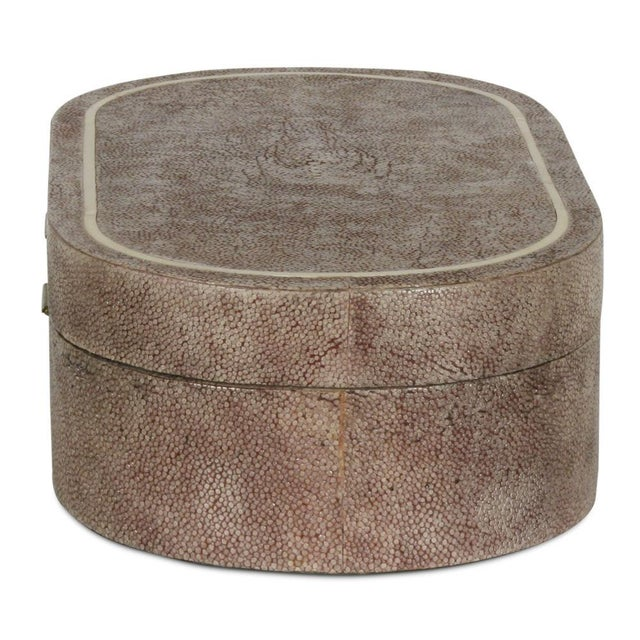 R & Y Augousti Shagreen & Ivory Racetrack Jewelry Box For Sale - Image 4 of 6