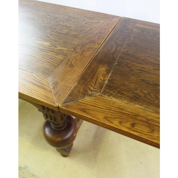 Extending Antique French Solid Oak Jacobean Style Dining Table For Sale - Image 9 of 13
