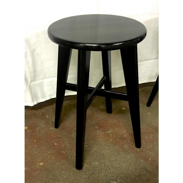 1950s Nice Mid Century Set of 4 Small French Black Stools For Sale - Image 5 of 5