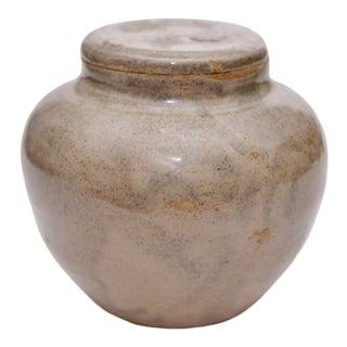 Vintage Glazed Ceramic Pot With Lid For Sale