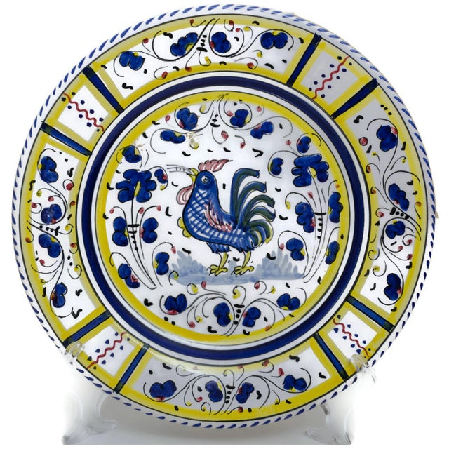 Vintage Hand-Painted Deruta Maiolica Rooster Plates - a Pair For Sale - Image 4 of 9