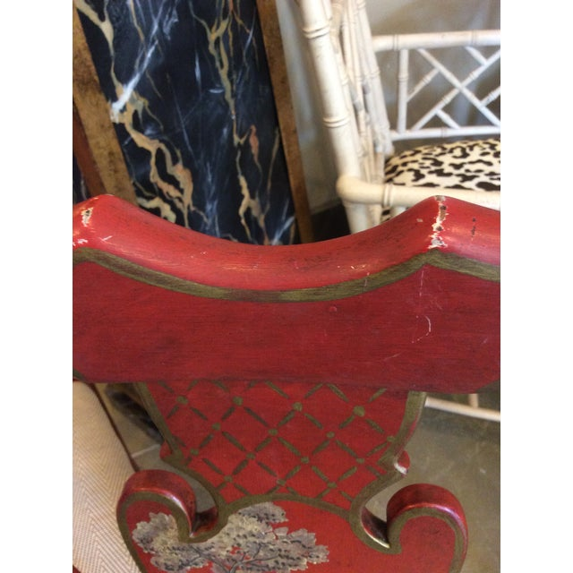 Red Chinoiserie Dining Chair - Set of 4 For Sale - Image 4 of 13
