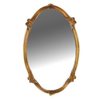 Vintage Mid Century Carolina Company Gilt Wood Oval Mirror For Sale