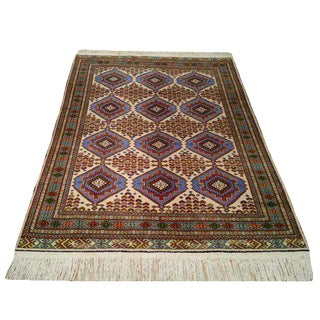 Vintage Persian Torkaman Hand Made Knotted Wool Rug - 5x7 For Sale
