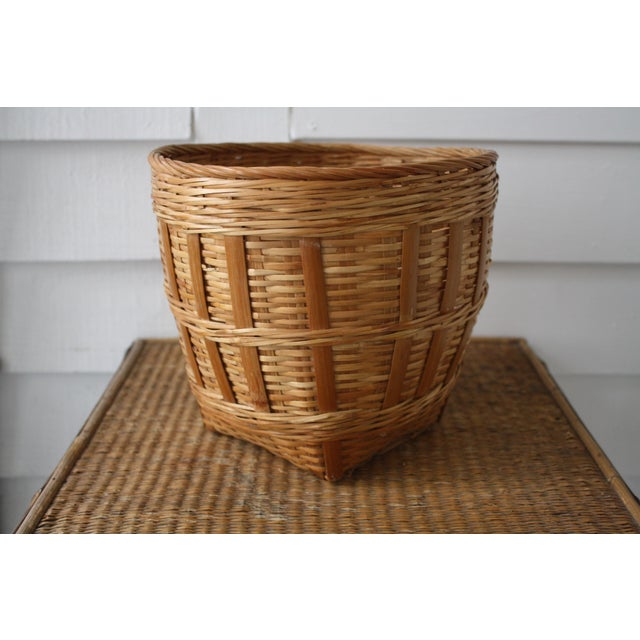 Vintage Woven Wicker Basket For Sale - Image 4 of 10