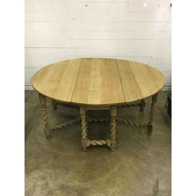Bleached Oak Gate Leg Dining Table - Image 4 of 9