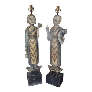 Tibetan Monk Lamps, 1950s - A Pair