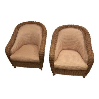 Donghia Wicker Tube Chair Lounges - A Pair