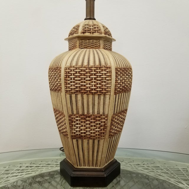 Rare Frederick Cooper Palm Beach Regency Faux Basket Weave Ceramic Lamp with hexagonal base. Great condition. Three way...