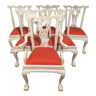Chippendale White Lacquered Dining Chairs With Orange Upholstery - Set of 6