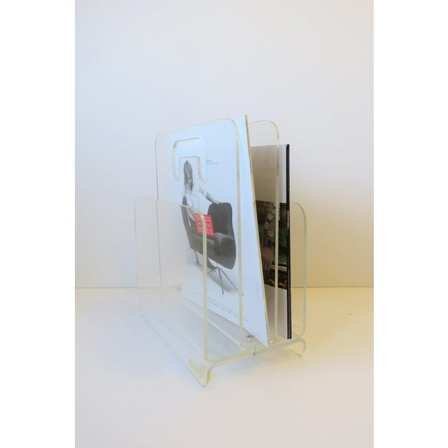 Clear Acrylic Magazine Holder, Circa 1976 For Sale - Image 9 of 13