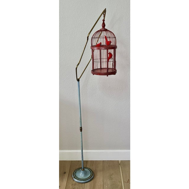 Antique Art Deco Brass Painted Blue Bird Cage Stand Holder With Red Wood & Metal Bird Cage For Sale - Image 4 of 12