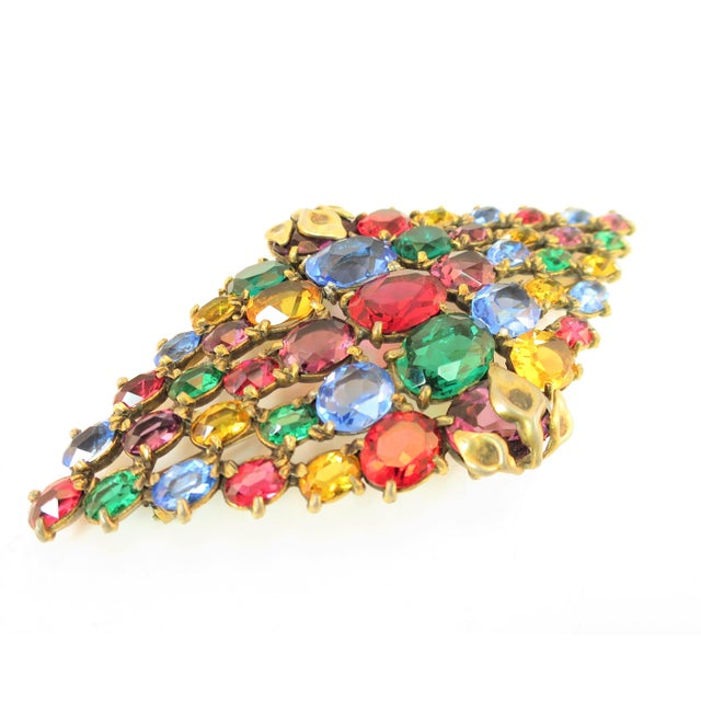 Czech Art Deco Jewel-Tone Bohemian Crystal Brooch 1920s For Sale - Image 4 of 12