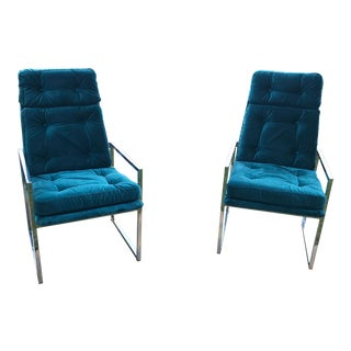 1970s Vintage ChromCraft Blue Velvet Chairs- A Pair For Sale
