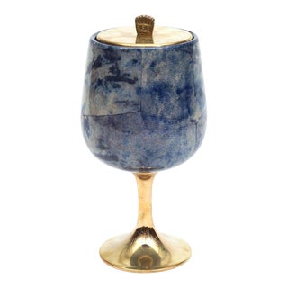 Aldo Tura Goatskin Parchment and Brass Ice Bucket, Italy, 1960s For Sale