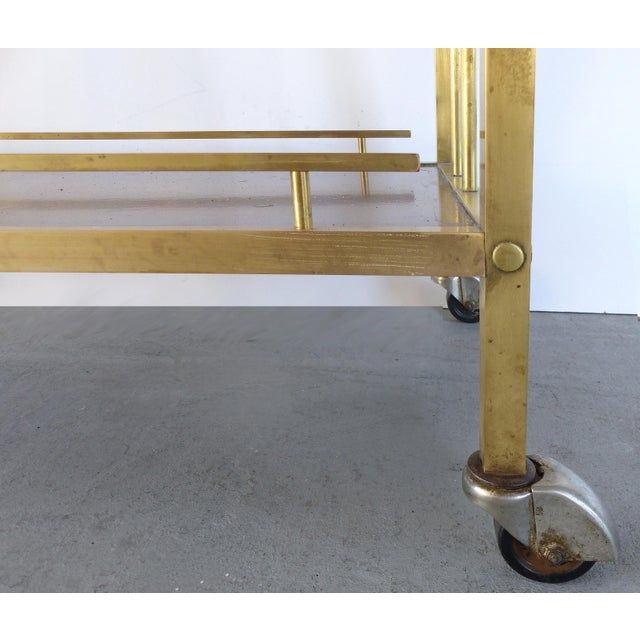 Bi-Level Brass Rolling Bar Trolley W/ Wood Accents For Sale - Image 5 of 10