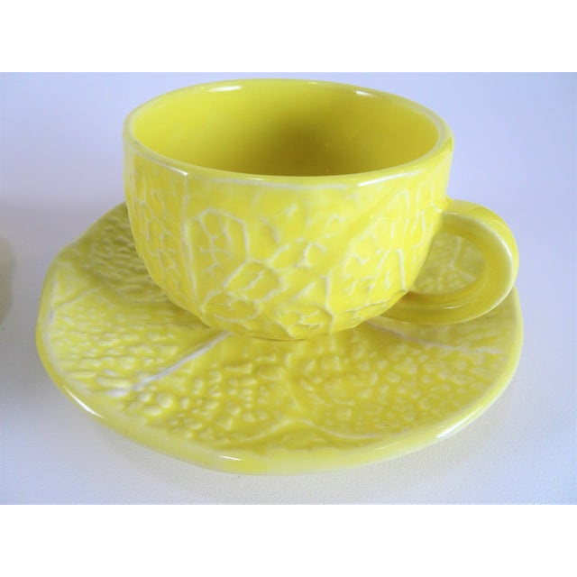 Ceramic Vintage Yellow Cabbage Majolica Tea Cup and Saucer - Service for 3 For Sale - Image 7 of 10