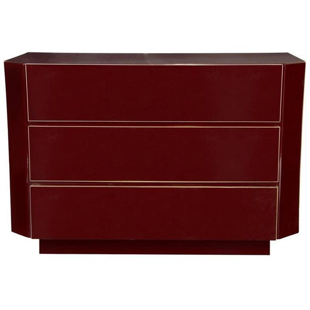 Guy Lefevre Guy Lefevre for Jansen Burgundy Lacquered and Gilt-Brass Mounted Three-Drawer Chest For Sale - Image 4 of 4