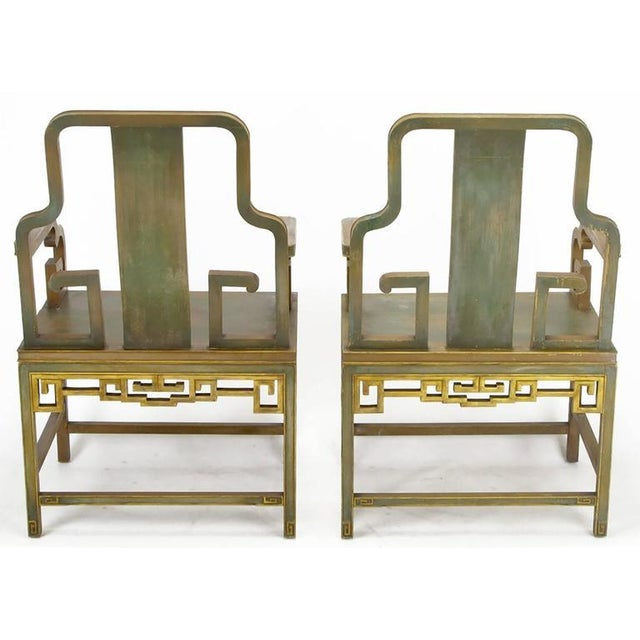 1940s Four Gump's 1940s, Hand-Painted Chinoiserie Armchairs For Sale - Image 5 of 8