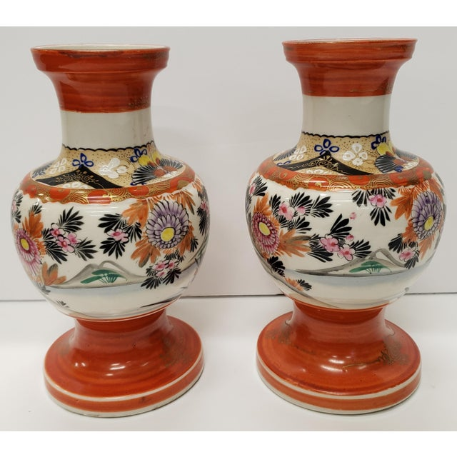 Up for sale is a Pair of Circa 1930 Japanese Kutani Porcelain Bird/Floral Motifs Footed Baluster Vases (Showa Period)!...