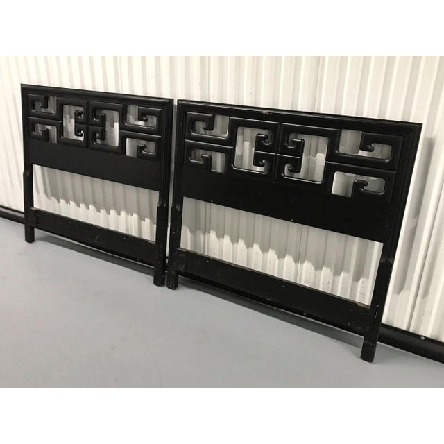 Mid-Century Modern Vintage Chinoiserie Greek Key Twin Headboards - a Pair For Sale - Image 3 of 12