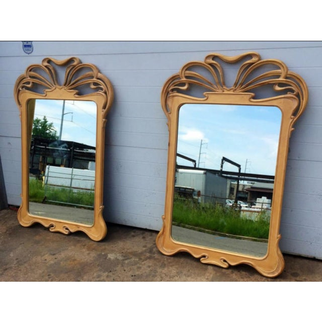 Art Nouveau Carved Wall Mirrors - A Pair - Image 5 of 6