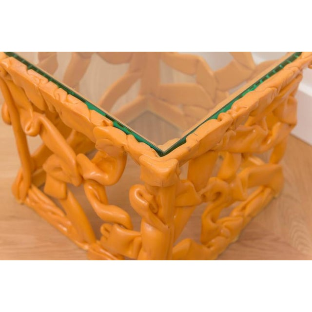Modern Decorative Resin Side Table For Sale - Image 3 of 7