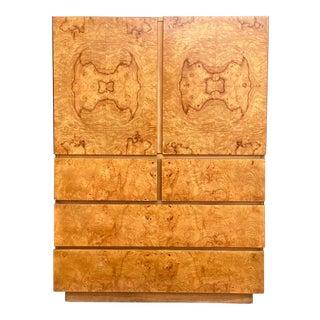 Midcentury Lane Altavista Burl Wood Cabinet For Sale