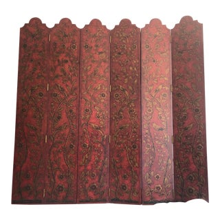 Hand Painted Six Panel Chinese Screen For Sale