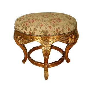 France 19th C. Gilt Stool with Original Mohair For Sale