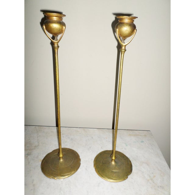 Art Deco Antique Tiffany Studios Bronze Candlesticks With Gold Gilt - a Pair For Sale - Image 3 of 13
