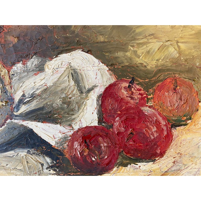 Still Life Painting of fruit, Impasto style brush strokes. Framed.