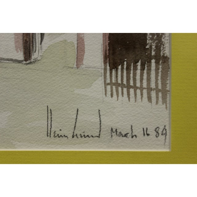 Traditional Gated Courtyard Watercolor For Sale - Image 3 of 7