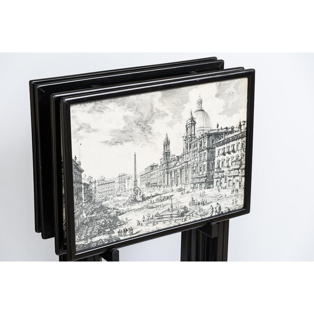 Folding Tray Tables Set With Scenes From Rome, Italy in Black & White, Set -4 For Sale - Image 9 of 10